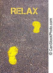 boodschap, trottoir, voetsporen, verslappen, gele, naar