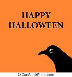 boodschap, vakantie, halloween, vrijstaand, vrolijke , vector, spandoek, raven., illustratie