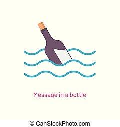 boodschap, vector, fles, illustratie, pictogram
