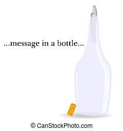 boodschap, vector, fles, illustratie