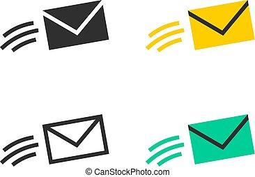boodschap, vliegen, iconen