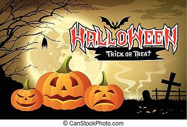 boodschap, vrolijke , halloween, pompoen
