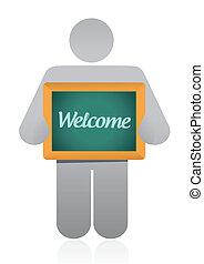 boodschap, welkom, ontwerp, illustratie