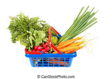 boodschappenmand, gevulde, met, gezonde , groentes