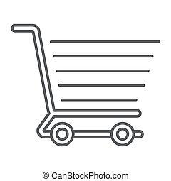boodschappenwagentje, dune lijn, pictogram, e handel, en, winkel, voedingsmiddelen, detailhandel, meldingsbord, vector, grafiek, een, lineair, model, op, een, witte achtergrond, eps, 10.
