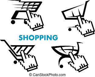 boodschappenwagentje, en, kleinhandel, iconen, set