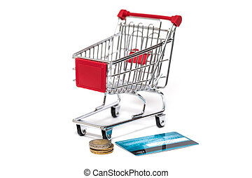 boodschappenwagentje, en, kredietkaart, vrijstaand
