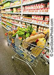 boodschappenwagentje, in, een, supermarkt