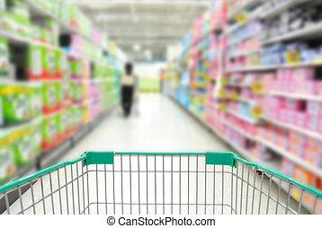 boodschappenwagentje, in, supermarkt, met, mensen