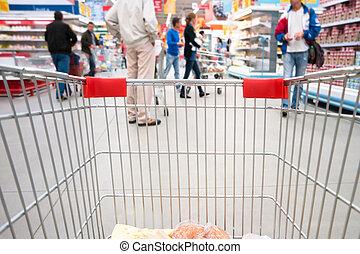 boodschappenwagentje, in, supermarkt