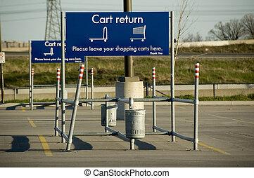 boodschappenwagentje, parkeren, buiten, van, een, groot, kleinhandelswinkel