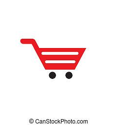 boodschappenwagentje, vector, ontwerp, mal, logo