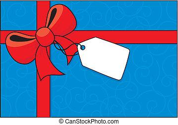 boog, cadeau, etiket