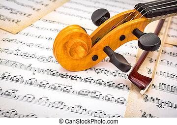 boog, partituur, afsluiten, viool rol, aanzicht