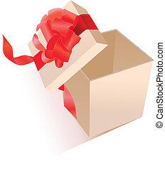boog, realistisch, giftbox, zijde, open, rood
