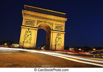 boog, van, triumph., bty, night., parijs, frankrijk