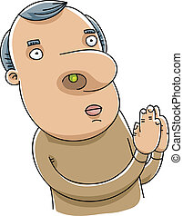 Booger Prayer - A cartoon man in prayer with a tiny booger...