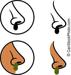 booger, snot, símbolos, vector, nariz, humano, frío