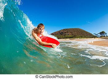 boogie, inackordering, surfa, förbluffande, blå ocean, våg