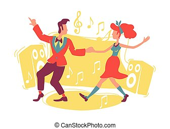 Boogie woogie dancing 2D vector web banner, poster. Rock n roll dancers flat characters on cartoon background. Retro couple at dance floor. Old school printable patches, colorful web elements
