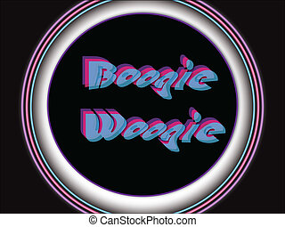 4-color EPS vector sign of twisted Boogie Woogie