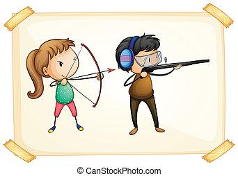 boogschieten, frame, spelend, twee mensen