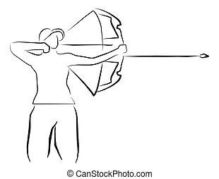 boogschieten, sportende, illustratie
