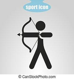 boogschieten, vector, pictogram, grijs, illustratie, achtergrond.