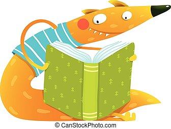 book., カラフルである, 子供, キツネ, 楽しみ, 読書