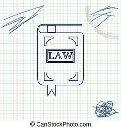 book., スケッチ, concept., 白, 隔離された, 法的, バックグラウンド。, ベクトル, イラスト, 裁判官, 線, 法律, 判断, 本, アイコン