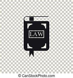 book., 平ら, アイコン, concept., 隔離された, イラスト, 透明, バックグラウンド。, ベクトル, 法的, 裁判官, 法律, 判断, 本, design.