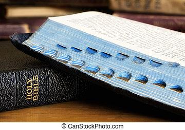 book., 聖書, 閉じられた, 開いた, 古い, 上に, 1(人・つ)