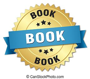book 3d gold badge with blue ribbon