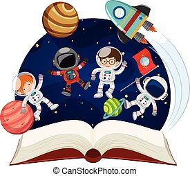 Book about astronomy with astronauts and planets