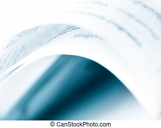 Book abstract. - Book opened. Blue toning. Abstract. Soft ...