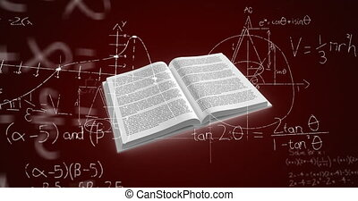Digital animation of Open book over mathematical equations moving against brown background. Education and schooling concept