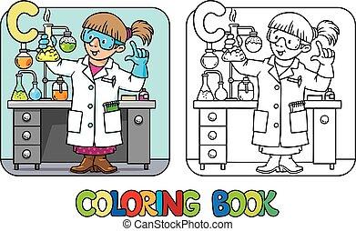 book., alfabeto, abc., coloritura, c, chimico, professione