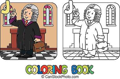 book., alfabeto, abc, juiz, coloração, j., profissão