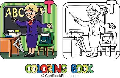 book., alfabeto, profesor, abc., colorido, t, profesión