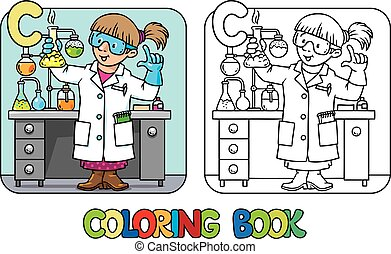 book., alphabet, abc., coloration, c, chimiste, profession