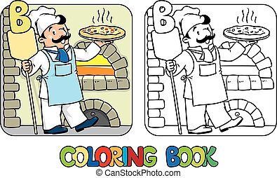 book., alphabet, b, abc., coloration, boulanger, profession