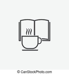 Book and cup of tea icon isolated on white background.