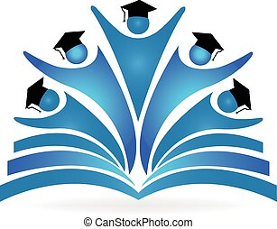 Book and graduates education logo. education logo vector...