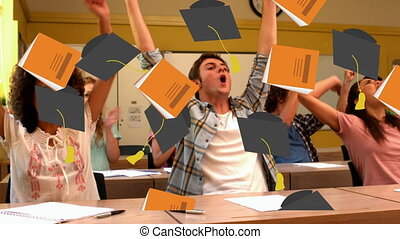 Book and graduation caps falling against group of students ...