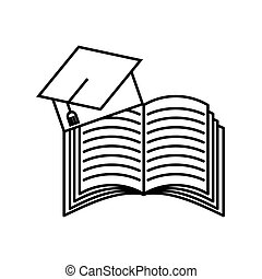 book and graduation hat icon