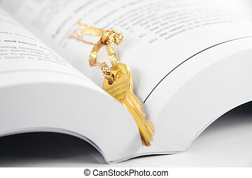 book and key - open book and golden key