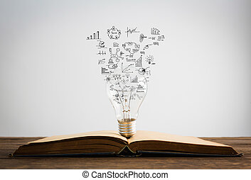 Book and light bulb of business concept