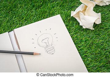 Book and light bulb of idea
