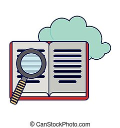 Book and magnifying glass with cloud