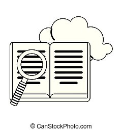 Book and magnifying glass with cloud in black and white